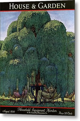 A House And Garden Cover Of People Dining Metal Print by Pierre Brissaud