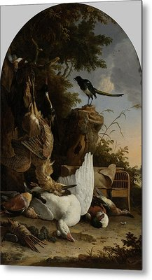A Hunter's Bag Near A Tree Stump With A Magpie Metal Print by Litz Collection