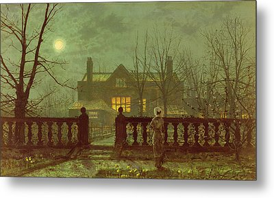 A Lady In A Garden By Moonlight Metal Print by John Atkinson Grimshaw