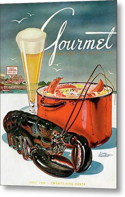 A Lobster And A Lobster Pot With Beer Metal Print by Henry Stahlhut