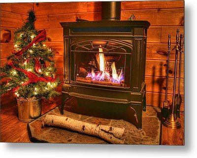 A Log Cabin Christmas Metal Print by Heather Allen