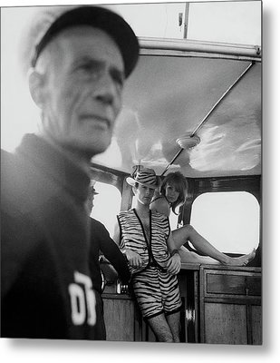 A Male Model And A Female Model Posing In A Cabin Metal Print by Peter Levy