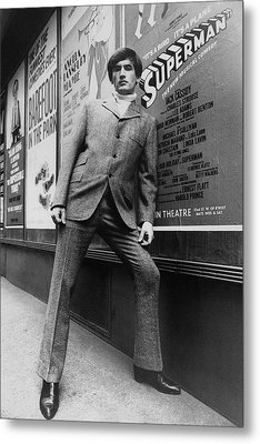 A Male Model Posing In Front Of An Advertisement Metal Print by Horn & Griner