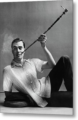 A Male Model Smoking A Cigarette From A Long Pipe Metal Print by Emme Gene Hall