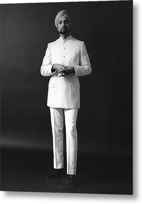 A Male Model Wearing A Custom-tailored Gaberdine Metal Print by Leonard Nones