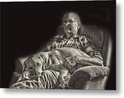 A Man And His Dog Metal Print by Linda Phelps