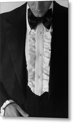 A Man Wearing A Tuxedo Metal Print by Peter Levy