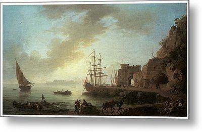 A Mediterranean Port At Dawn Metal Print by Claude-Joesph Vernet