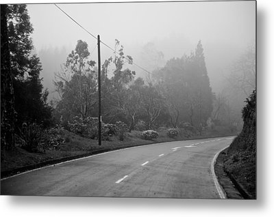A Misty Country Road Metal Print