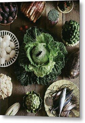 A Mixed Variety Of Food And Ceramic Imitations Metal Print by Fotiades