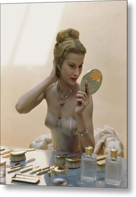 A Model At A Dressing Table Metal Print