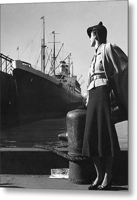 A Model At A Port Metal Print by Toni Frissell