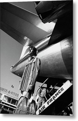 A Model By An Air France Airplane Metal Print