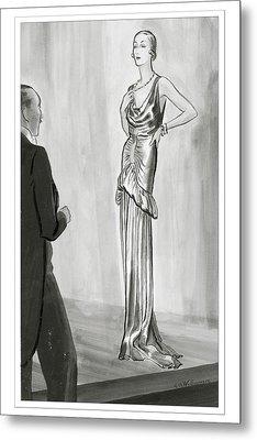 A Model In A Lanvin Gown Metal Print by Rene Bouet-Willaumez