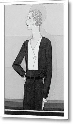 A Model In A Schiaparelli Suit Metal Print by Douglas Pollard