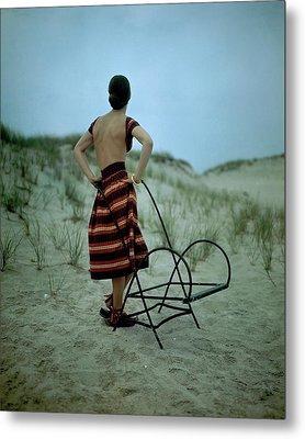A Model On A Beach Metal Print