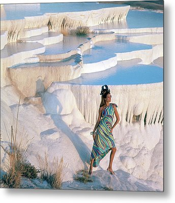 A Model On The Cliffs Of Pamukkale Metal Print