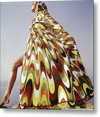 A Model Posing In A Colorful Cover-up Metal Print by Henry Clarke