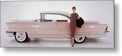 A Model Posing In Front Of A Vintage Car Metal Print by Karen Radkai