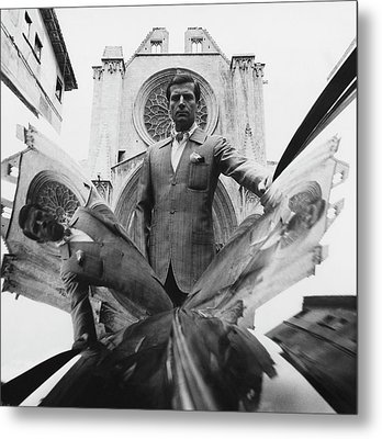 A Model Standing In Front Of A Cathedral Metal Print by Leonard Nones