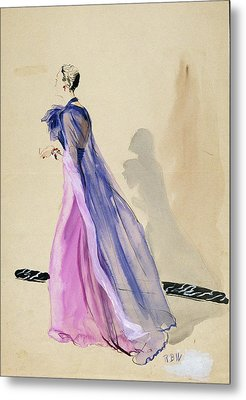 A Model Wearing A Blue Cape And Pink Chiffon Metal Print by Rene Bouet-Willaumez