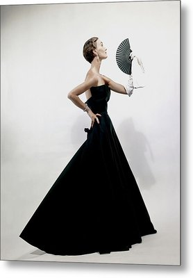 A Model Wearing A Christian Dior Dress Metal Print