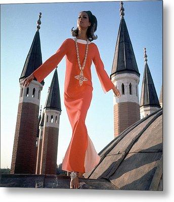 A Model Wearing A Christian Dior Dress Metal Print