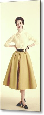 A Model Wearing A Cream Sweater And Camel Skirt Metal Print