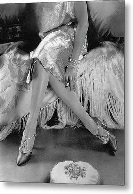 A Model Wearing A Dress And Perugia Shoes Metal Print by Edward Steichen