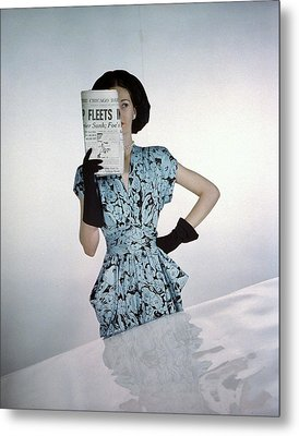 A Model Wearing A Floral Blue Dress Metal Print by Constantin Joffe