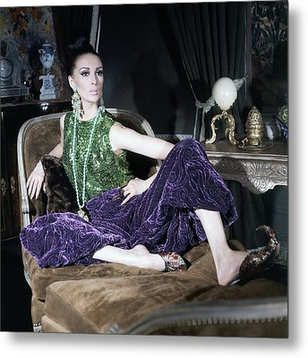 A Model Wearing A Glittery Top And Velvet Pants Metal Print