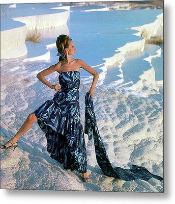 A Model Wearing A Jobere Dress Metal Print by Henry Clarke