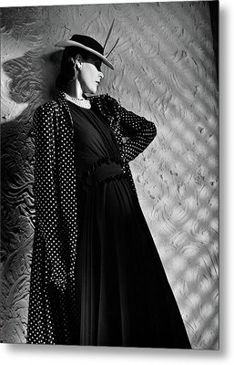 A Model Wearing A Mainbocher Coat And At Talbot Metal Print by Horst P. Horst