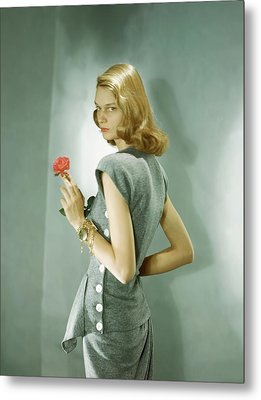 A Model Wearing A Matching Shirt And Skirt Metal Print by Horst P. Horst
