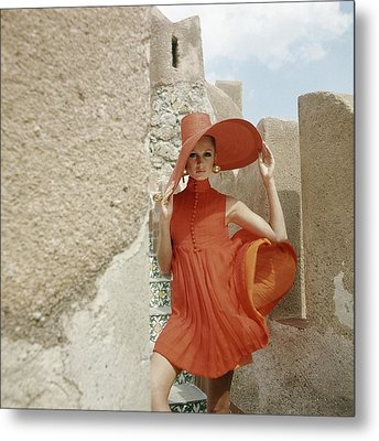 A Model Wearing A Orange Dress Metal Print by Henry Clarke