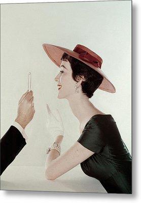 A Model Wearing A Sun Hat And Dress Metal Print by John Rawlings