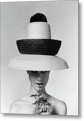 A Model Wearing A Sun Hat Metal Print
