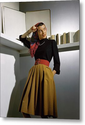 A Model Wearing A Sweater Metal Print by Horst P. Horst