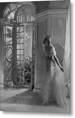 A Model Wearing A Tulle Dress Metal Print