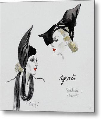 A Model Wearing An Agnes Hat Metal Print by David