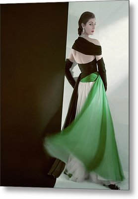 A Model Wearing An Evening Gown Metal Print by Horst P. Horst