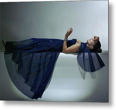 A Model Wearing An Evening Gown Metal Print by John Rawlings