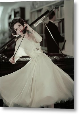 A Model Wearing An Evening Gown Leaning Metal Print