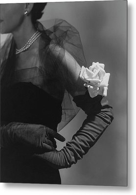 A Model Wearing And Velvet Rose Metal Print by Horst P. Horst