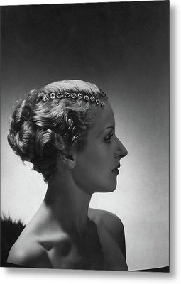 A Model Wearing Cartier Jewelry Metal Print by Horst P. Horst