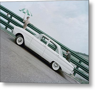A Model With A Ford Falcon Metal Print by John Rawlings