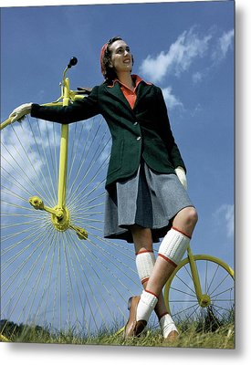 A Model With An Old-fashioned Bicycle Metal Print