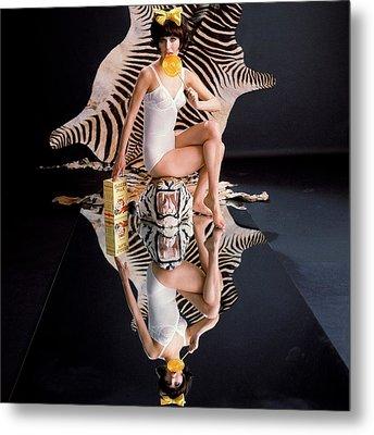 A Model With Animal Skins Metal Print by John Rawlings