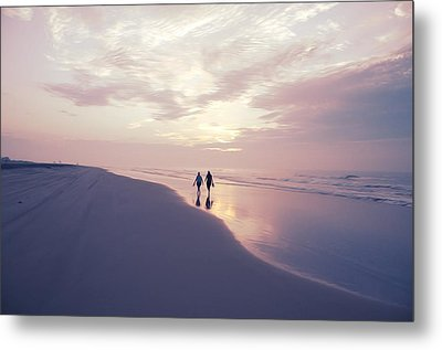 A Morning Walk On The Beach Metal Print by Bill Cannon