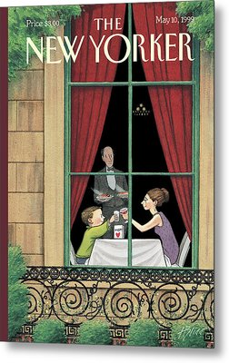 A Mother And Son Enjoy A Meal Together Metal Print by Harry Bliss